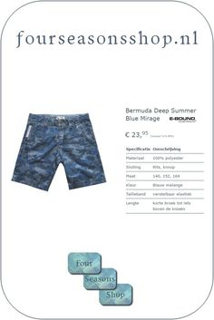 Jongens Bermuda Deep Summer Blue Mirage #fourseasonsshop.nl #bermuda #eboundbermuda #deepsummer #bluemirage Four Seasons, Pants, Fashion, Trouser Pants, Moda, Fashion Styles, Seasons Of The Year, Women's Pants, Women Pants