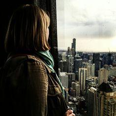 Girl looking at city