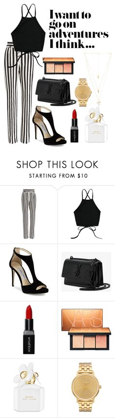 """""""Black , white and gold"""" by laurenfelle ❤ liked on Polyvore featuring Dolce&Gabbana, Jimmy Choo, Yves Saint Laurent, Smashbox, NARS Cosmetics, Marc Jacobs, Nixon and Natalie B"""