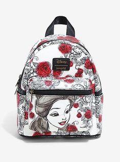 Loungefly Disney Beauty And The Beast Sketched Roses Mini Backpack, - quince dresses - Disney Handbags, Disney Purse, Cute Mini Backpacks, Girl Backpacks, Mochila Nike, Mini Mochila, Disney Beauty And The Beast, Beauty And The Beast Clothes, Disney Merchandise