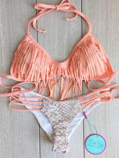 It's Back Peach And Sand Snake Fringe bikini by BeachBabeSwimwear