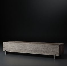 RH Modern's Monterey Metal Rail Coffee Table:Reclaimed from old barns in southern Brazil, the hardwood used to craft our collection reveals time-touched character. Natural variations in the grain and hue of each timber bring warmth to the clean, geometric silhouette.