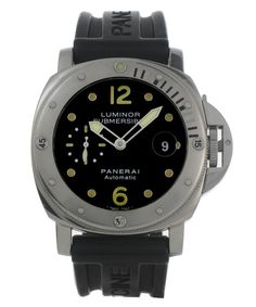 This is a pre-owned Panerai Luminor Submersible PAM00024. It has a 44mm Steel case (measured across its width, excluding crown), a Black Baton dial, a Rubber - Black bracelet, and is powered by an Automatic movement. The case has a op65xxxxxxxxxxx serial making it approximately 9 years old. It is supplied with a comprehensive 12 month Watchfinder warranty. This Panerai has undergone a thorough inspection of water resistance, accuracy, functionality and condition to determine the lev...
