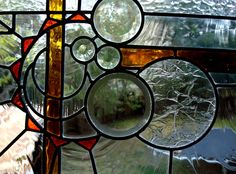 love the bubble look Custom Stained Glass, Glass Panels, Mosaic, Bubbles, Abstract, House Ideas, Stairs, Painting, Sun