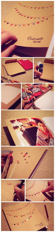 DIY craft idea - recycled paper flag note book cover, which I made for myself to take business notes in.