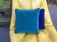 60's Bright Aqua Turquoise Square Velvet Throw Pillow