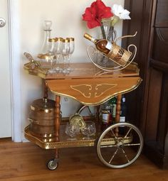 Italian Marquetry And Br Drop Leaf Bar Cart Tea Trolley Breakfast