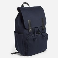 1cf0a12f2944 The Modern Snap Backpack - Navy with Black Leather