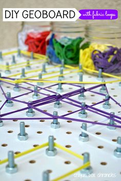 DIY Geoboard with Fabric Loops by Crayon Box Chronicles. Easy to set-up and great for learning math concepts, shapes, and fine motor. Stem Activities, Toddler Activities, Geo Board, Crayon Box, Math Concepts, Diy Toys, Fine Motor, Preschool Activities, Kids Learning