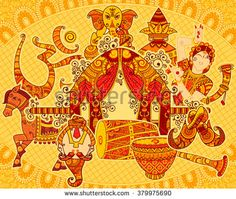 Vector design of cultural display of India in Indian art style