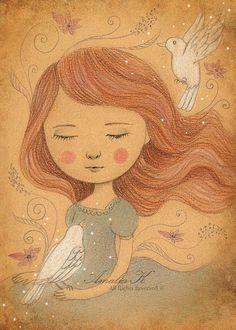 Art Print of Original Pencil Drawing Digital Art, Nursery Decor, Children's Room Art, Whimsical Illustration - White Doves by Amalia K on Etsy, $14.00