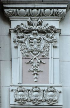 Terra cotta ornament seen on a building on Canal Street in New Orleans, Louisiana. Neoclassical Architecture, Classic Architecture, Beautiful Architecture, Architecture Details, Interior Architecture, Door Gate Design, Cardboard Sculpture, Baroque Design, Art Carved