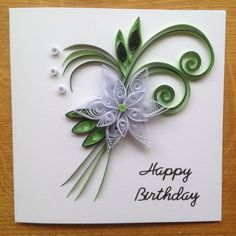 Quilling Birthday Card green and white                                                                                                                                                                                 More