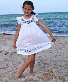 White Amelia Azulejo Angel-Sleeve Dress - Infant, Toddler & Girls