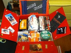 Movie Night Care Package Gift Idea. Imagine getting this present in the mail? Awesome idea!!! :)