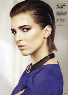 Big brows and slicked back hair. So arresting. Makeup by Diana Carreiro