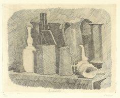 Giorgio Morandi - Natura morta - Acquaforte, es. 10/25 - cm. 23x29 (lastra), cm. 32,4x40,3(carta)