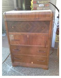 This vintage waterfall dresser was listed for free on Craigslist. It had been abandoned by a previous homeowner, and as you can see, needed some love. Waterfall Furniture, Waterfall Dresser, Paint Furniture, Furniture Styles, Bedroom Furniture, Furniture Ideas, Restoring Furniture, Blue Furniture, Distressed Furniture