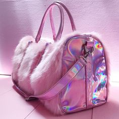 Pink Holographic Iridescent Faux Fur Weekender Bags are taking over the travel fashion industry this season. Pink Fur Bag is perfect for weekend packing for a mini vacay. My Bags, Purses And Bags, Cute Purses, Fashion Bags, Fashion Backpack, Travel Fashion, Trendy Fashion, Bunny Bags, Fur Bag