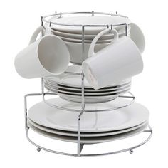Gibson Café Monte 17Pc Round White Dinnerware Set w/ Metal Rack, Service for 4