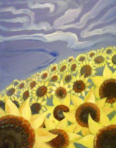 """Sunflower Field"" - #sunflowers #paintnite #art"