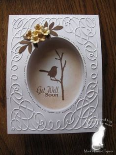 Stamps: MFP - image - Tweet Blessings, saying - Ladybugs & Carnation Paper: white, brown, tan, cream Ink: brown, caramel Accessories: sponges, cb, scroll EF, CM cutting system, punches, marker, stickles, stylus Techniques: TLC, CAS