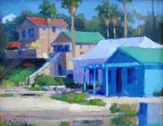 "Crystal Cove Cottages, Laguna Beach by Catherine Grawin Oil ~ 8"" x 10"""