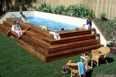 {plant-flanked above-ground pool} *aps idea: increase decking immediately around pool to allow for more lounging space. #skywater