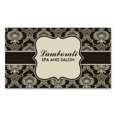Spa, Salon Damask Floral Elegant Cosmetologist Fashion Retro Business Card Template