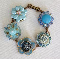 Blue vintage earring bracelet vintage by ChicMaddiesBoutique, $35.00