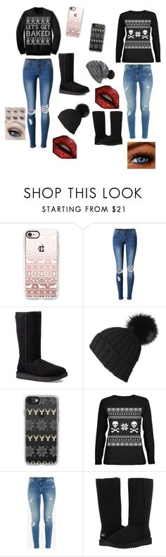 """Ugly Christmas sweater party"" by mlchambers ❤ liked on Polyvore featuring Casetify, WithChic, UGG, Black, Ted Baker, UGG Australia and Capelli New York"