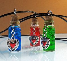 Zelda - Link's Health Potion - Red Potion Vial - Silver (also in blue and green). These are beautiful