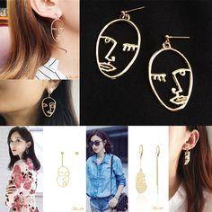 Gold Face Art Deco Cut Out Silhouette Fashion Earrings Very TopShop Zara Mango