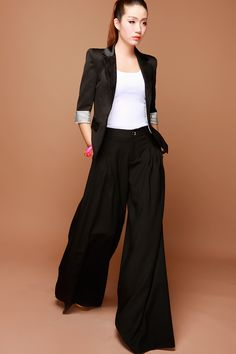 women linen wide leg pants baggy loose pants Loose by customsize ...