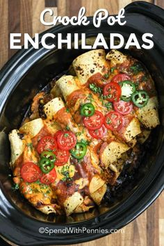Crock Pot Enchiladas are an easy weeknight meal! A shredded chicken & black bean mixture is rolled in tortillas and layer in a crockpot with enchilada sauce and cheese! My family loves to top these with jalapeños, sour cream, salsa and sour cream! Slow Cooker Recipes, Crockpot Recipes, Cooking Recipes, Healthy Recipes, Bean Recipes, Lunch Recipes, Chicken Enchiladas, Crockpot Enchilada Casserole, Appetizers