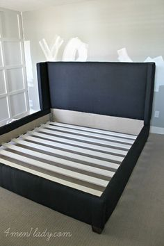 diy upholstered wing bed 4 men 1 lady - Upholstered Bed Frame