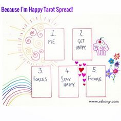 Because I'm Happy!! A new Tarot Spread and Blog Post is up over at www.ethony.com along with my 10 secrets for happiness. #happiness #tarot #tarotspread #divination #love #cupcakes #rainbows #happy #tarotreading
