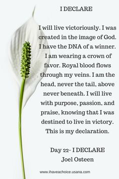 Day 22 I Declare by Joel Osteen. I will live victoriously...I will live with purpose, passion, and praise knowing that I was destined to live in victory.