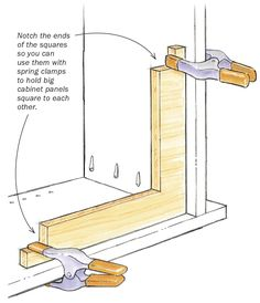Woodworking Jigs Clamping squares aren't a new idea, but this is my favorite design for them. When I'm assembling a cabinet, I use these simple plywood braces and spring clamps to ensure … Learn Woodworking, Woodworking Techniques, Popular Woodworking, Woodworking Crafts, Woodworking Plans, Woodworking Jigsaw, Woodworking Quotes, Woodworking Apron, Woodworking Patterns