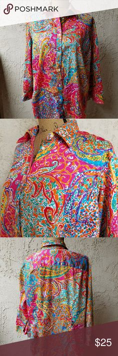 """175) Lauren by RL paisley button down shirt 3/4 length sleeves darts in front Approximately 24"""" from armpit to armpit & Approx. 28"""" from the shoulder seam  to the hem.... 100% cotton...tu2... Lauren Ralph Lauren Tops Button Down Shirts"""