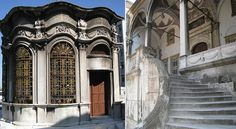 Istanbul,Nusretiye Camii (1822-26): (left) sebil (ancient public fountain) ; (right) steps leading to the entrance.by Roberto Piperno