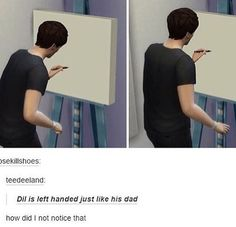 AWW. I think Dil got most of his traits from Dan, like being a leftie, liking llamas, etc.
