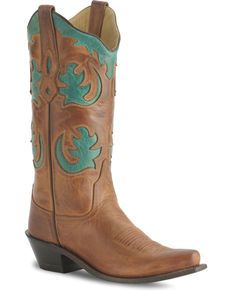Old West Barnwood Vintage Cowgirl Boot - Snip Toe, Brown