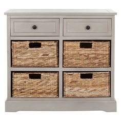 2-drawer pine storage chest with 4 wicker baskets.     Product: Storage chestConstruction Material: Pine wood a...