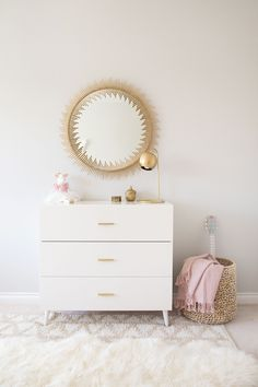 white west elm dresser with gold mirror in girl room. Love the dresser, lamp and mirror!