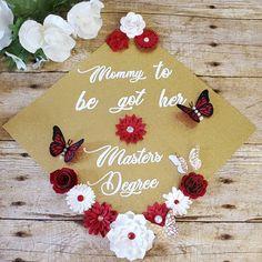 Mommy to be graduation cap topper Graduation Cap Toppers, Graduation Diy, Cap Decorations, Butterfly, Seasons, Christmas Ornaments, Holiday Decor, Inspiration, Instagram