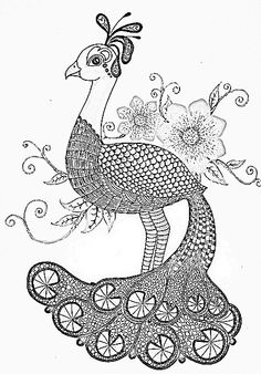 ☮ American Hippie Art ~ Coloring Page .. Peacock