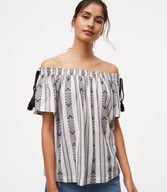 Primary Image of Striped Side Tie Off The Shoulder Top