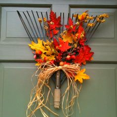 Fall wreath made from an old rake in our garage :)
