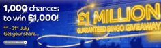 Galas fabulous July Promotion. Bingo tickets costing 50p each have a chance of winning £1000. And there are 1000 x £1000 prizes up for grabs. For more information and how to play visit: http://www.ballsandboxes.com/gala-bingo-july-prizes/